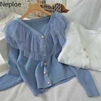 Neploe Double Lace V Neck Cardigans Sweater Long Sleeve Single Breasted Design Straight Slim Pull Femme Coat Autumn Knit 47916 210918