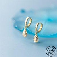 Hoop & Huggie 925 Sterling Silver Small Water Drop Shape Pendant Gold Color Plated Cubic Zirconia Piercing Earrings Jewelry For Women