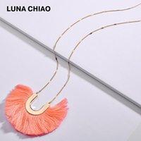 Collares colgantes Chiao Llegada Cadena larga U Caballo Zapato Forma Metal Algodón Cuerda con flecos Para Mujeres