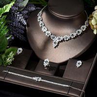 Earrings & Necklace HIBRIDE Bright Zircon Flower Design Jewelry Sets Designer Accessories Statement 4pcs Set For Women Wedding Party N-118