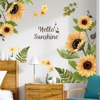 ملصقات الحائط عباد الشمس الملصقات الزخرفية غرفة المعيشة زهرة خلفية جدار غرفة نوم