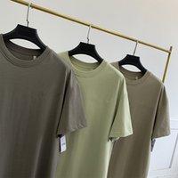 고품질 21SS 기본 디자이너 티셔츠 가슴 작은 로고 가로포 스타일 짧은 소매 느슨한 특대 면화 티셔츠 남성과 여성 트렌디 한 탑스