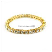 Charm Bracelets Jewelryfashion Hip Hop Style Iced Out Chains Single Drill Mens 1 Row Rhinestones Bracelet Simated Diamond Bangle Jewelry 3 C