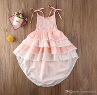 2021 Summer Kids Baby Girls Boho Lace Layered Tutu Dress Party Pageant Princess Long Maxi Dresses Girl Kid Clothes 1-6Y