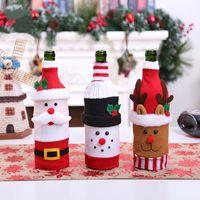 Santa Claus Wine Bottle Cover Creative Snowman Elk Doll Adornment Christmas Champagne Bottles Bag Xmas Party Decorations