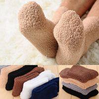 Winter Warm Fluffy Socks In Women's Socks Cute Soft Elastic Coral Velvet Socks Indoor Floor Towel Breathable Pure Colors