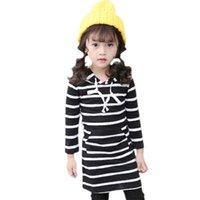 Abosay vestidos de outono para meninas listrado manga comprida com capuz crianças adolescente 6 8 10 12 anos 210528