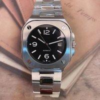 자동 기계식 망 시계 시계 블랙 다이얼 스테인레스 스틸 팔찌 904l BR 05 날짜 Squar 케이스 제한