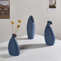 Nordic Mediterranean Blue Ceramic Vase Hydroponic Device Flower Desktop Crafts European Decoration Hochzeit Geschenke Vains