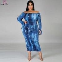 Casual Dresses Sexy Off Shoulder Dress Women Plus Size XL-5XL Autumn Dye Tie Printed Skinny Long Sleeve Vestidos Club