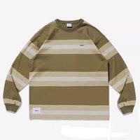 WTAPs gestreiftes Baumwoll-T-Shirt für Herbst-Herbst-Langarm-Pullover