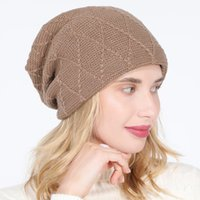 Hats Caps men's and women's knitted pullover solid color grid diamond Plush wool autumn and winter ear protection pile