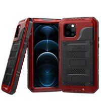 Ip68 Rugged Armor Slide Camera Lens Phone Case For Iphone 12 Pro Max Metal Aluminum Military Grade Bumpers Armor Kickstand Cover