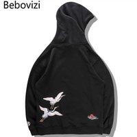 BEBOVIZI JAPANISCHER CRANE BIRD Bestickte Pullover Mit Kapuze Sweatshirts Hoodies Männer Harajuku Hip Hop Hoodie Streetwear Tops 2019