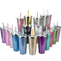Multicolored 24oz Glitter Sippy Cup Tumbler Double Wall Insulated Plastic Sport Bottle Mug With Straws Customizable DIY Gift Water Tumblers FHL349-ZWL710