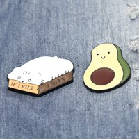 Cartoon Animal White Cat Metal Brooch Pins ECO Enamel Funny Avocado Cute Brooches for Girls Gift Jewelry Badges Bag Clothes Hat Accessories Denim Shirt Collar Pin