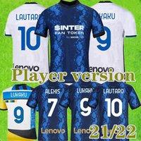 플레이어 버전 2021 2022 인터 축구 유니폼 21 22 밀라노 에리 쿠 루카쿠 Lautaro Alexis Perisic Skriniar Godín 축구 셔츠 유니폼