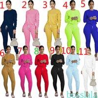 Kadın Spor Eşofman Tasarımcısı Iki Parçalı Kıyafetler Katı Renk Uzun Kollu Pantolon Bayanlar Yeni Rahat Sonbahar Ve Kış Artı Boyutu Sportwear 12 Renkler