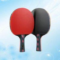 2PCS 5 نجوم أحمر ألياف الكربون مضرب تنس الطاولة مضرب مزدوجة البثور في بينجبونغ لاعب المراهق (قبضة أفقية)