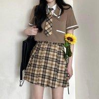 Clothing Sets Harajuku Japanese Summer Uniform Jk Style Women's Short Sleeve Pleated Skirt Students School Streetwear Plaid Mini Skirts 2021