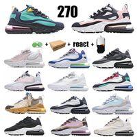 270 Sapatos de corrida de esporte reagir homens mulheres triplicam preto todas as sapatilhas de perfurador de perfuração azul