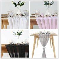 30x305cm Wedding Wedding Bianco Chiffon Tavolo Runner Tablecloth Cover Sedia SASH Party Decor Gonna Banchetto