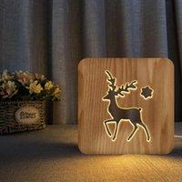 Night Lights Deer 3D Wooden Decoration Table Lamp Christmas Modelling Led Light For Bedroom Home Lighting Kids Birthday Gift