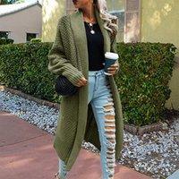Giacche da corsa Donne Cardigan a maglia Lunga Cardigan Vintage Colore Solido Solido Allentato Cappotto Gastronomia Outwear Jumper Outwear Autunno inverno 5
