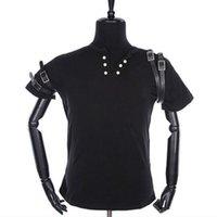 Camiseta Punk Rock Streetwear Motorcycle MJ Michael Jackson Costume Classic Lady Black Camiseta y cinturón