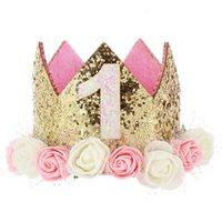 Fille First Anniversaire Décor Fleur Party Cap Kroon Bandeau 1 2 Numéro de 3 ans Chapeau de style Princess Bébé Ses accessoires