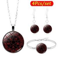 Pendientes Collar Pendientes Pentagram Pentagram Cabochon Joyas Conjunto de Joyas de Moda Tiempo Gema Pulsera Pendiente Conjuntos para Mujeres