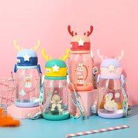Детские соломенные бутылки с водой мультфильм пластиковые милые творческие детские сады детские ученики чашки 12 стилей от 601 до 700 мл