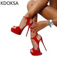 Sandals KDOKSA S 2021 Summer Style Sexy 16cm Women High Heels Open Toe Buckles Nightclub Party Shoe Black Big Size 15