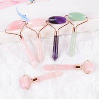 Single Head Rose Quartz Jade Roller Face Care Massager Natural Crystal Pink Facial Rollers Anti Wrinkle Beauty Healing Health Tools