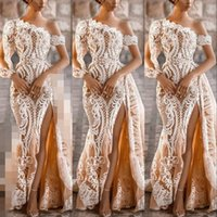 2021 Champagne One Shoulder Mermaid Wedding Dresses Bridal Gowns Overskirt Thigh Split Long Sleeve White Lace Appliques Detachable Train Beach Formal Plus Size