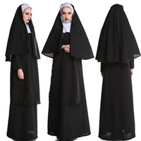 여성을위한 캐주얼 드레스 할로윈 드레스 수녀님 여성 선교 사제 제복 유니폼 중세 의상 크로스 종교 폴리 에스터 성인 남자 r