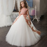 White Teenager Bridesmaid Wedding Dress Princess Girls Party Costume Kids Formal Clothes Lace Long Trailing Dresses for Children
