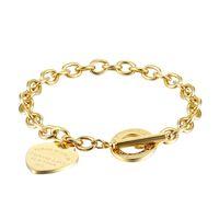 Kadınlar Paslanmaz Çelik Bilezikler Lütfen Kalp Dön Altın Gümüş OT Zincirleri Pulsera Bilezik Moda T Takı Tarzı
