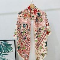 Новый 130 Большой Цветок и птичий Шарф Шарф Шарф Сявки Солнцезащитный Пляжный Полотенце Twill Напечатанный Шарф Европейский и Американский Стиль Шарф