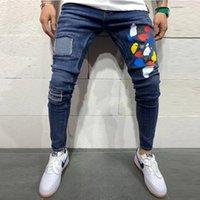 Mens Hole Patch Skinny джинсы моды напечатаны разорванные тонкие джинсовые брюки для мужчин 2021 человек хип-хоп маленькие ноги джинсовые брюки