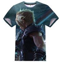 일본 애니메이션 게임 티셔츠 최종 판타지 vii 남성 여성 3D 인쇄 streetwear 스포츠 캐주얼 Tshirt O 넥 패션 티셔츠 티셔츠 탑