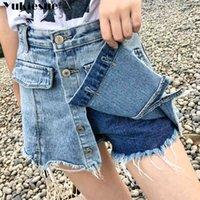 المرأة الصيف أنثى تنورة الدنيم للنساء امرأة قصيرة جينز عالية الخصر السراويل 210412