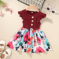 Girl's Dresses Toddler Kids Baby Girl Sleeve Casual Bow Ribbed Floral Flower Dress Princess Clothes Children Outfit #64