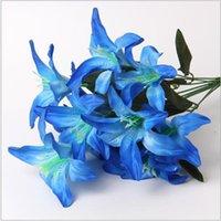 40cm Rainbow Rayon Grande de lírios Buquê Artificial Jóias Flores DIY Flower Flower Bride Decoração de mão 2145 v2