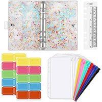 Gift Wrap A6 Budget Binder Cover, Waterproof PVC Ring Cash Envelope Wallet For Planner Organizer, Pockets Multicolor Zipper