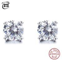 Stud Luxury Round Created Moissanite Diamond Earrings 100% 925 Sterling Silver Women's Bridal Wedding Jewelry Wholesale