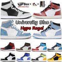 1 1s Üniversite Mavi Ayakkabı Travis Scotts Koyu Mocha Obsidiyen UNC Korkusuz Büküm Işık Duman Gri Gölge 2.0 Erkek Basketbol Ayakkabıları