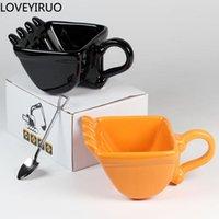 Mugs 340ml Funny Excavator Bucket Model Coffee Creative For Dessert Ceramic Mug Cups Gift Canecas Cake Cup