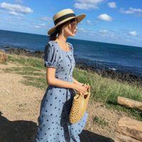 Abiti Francese Yamamoto Hepburn Temperament Lunghe Piccola Gonna estiva da donna fresca Lunghezza media Dot Dot Dot Abito chiffon