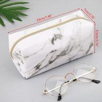 Storage Bags Large Cute Pencil Case Pen Box Zipper Marble Makeup Supplies